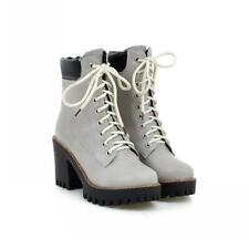 Women Ladies Chunky Heel Biker College Motorcycle Lacce Ups Ankle Boots 42 43 D