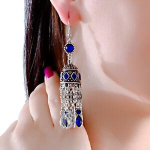 Retro Women's Bohemian Classic Black Rhinestone Long Tassel Drop Dangle Earrings