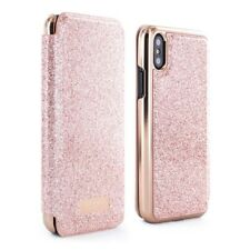 OFFICIAL Ted Baker PERI Mirror Folio Case Pink Glitter for iPhone X - Rose Gold