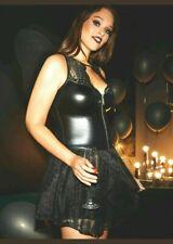 Ann Summers Black Fallen Angel PVC Lace Fancy Dress Only Costume Size M - 12-14