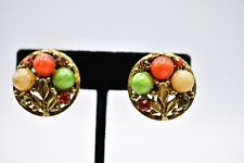 Statement Clip On Earrings Gold Tone Rhinestone Multi-Color Floral Abstract Bin5