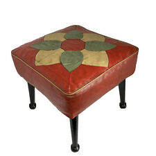 Vintage Retro Red Pouffe Footstool Stool with Flower Design and Pin Atomic Legs