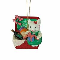 1995 Lustre Fame Merry Christmas Picnic Mouse Ornament Gift Basket VTG Enesco