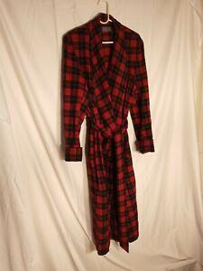 Vtg Pendleton Plaid Belted Robe Pure Virgin Wool USA Mens Size L