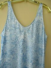 CABERNET SLEEVELESS NIGHTGOWN SOFT SILKY SATIN CHARMEUSE BLUE FLORAL POLY M