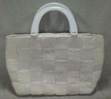 White Basket Weave M & G Bertini Purse Handbag Plastic Handle Satchel Italy