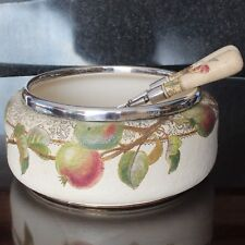 Hand Painted JOHN BROAD Doulton Lambeth Plated Rimmed Salad Bowl & Servers
