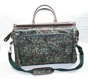 Atlantic Green Floral Tapestry Carry On Satchel Weekend Bag Luggage Vintage