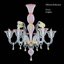 Lampadario in Vetro di Murano - 1082/5 Cristallo Rosa Oro - Montatura Oro 24K