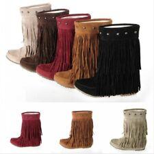 Damenschuhe Mokassin-Stiefel Slipper Quasten Flach Winter Nieten Hidden Wedge 43