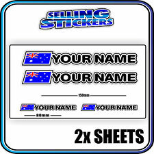 CUSTOM NAME STICKER WITH FLAG SET ROAD CYCLING BIKE BMX MOUNTAIN AVANTI GIANT S1