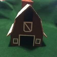 Vintage fully assembled Wooden Red Barn & Silo Model Train or Table Top Scenery