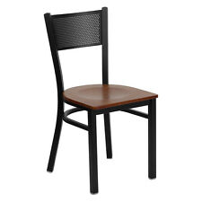 Oscar Metal Black Chair WOOD SEAT