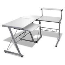 Wood L-Shape Corner Computer Desk PC Laptop Table Workstation Home Office White