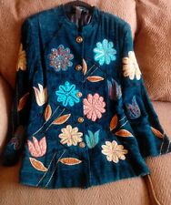 Indigo Moon Woman's Valour Teal W/Embossed Flowers Button Down Jacket Size S