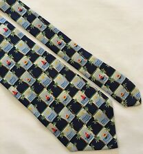 BANANA REPUBLIC Blue Checked Sailboat Print 100% Silk Neck Tie Made In Italy