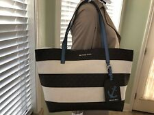 michael kors illustrations stripe canvas large ew tote