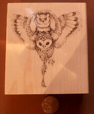"P27  Owl art rubber stamp WM 3x3"" Beautiful WM"