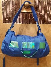 NEW MARC BY MARC JACOBS DUFFLE BAG WEEKEND TRAVEL BLUE METALLIC GREEN NYLON
