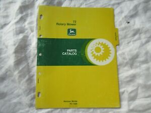 1977 John Deere 72 rotary mower parts catalog manual