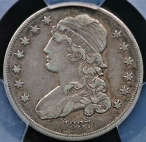 1837 CAPPED BUST QUARTER PCGS XF 40 NICE ORIGINAL COIN GREY ACCENTED BY AMBER
