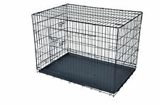 Black 48*2 Door Pet Cage Folding Dog*Divider Cat Crate Cage Kennel*Tray Lc