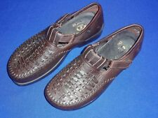 Dexter Shoes Brown Leather Hook & Loop Strap Loafers Men's Sz 9 Medium