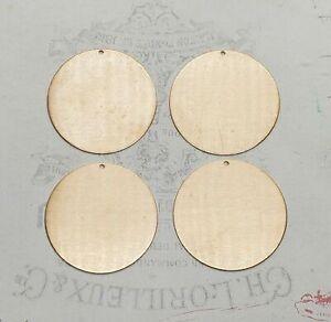 Raw Brass Round Circle Shape Charms (4) - TCA1893