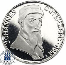 Deutschland 5 DM Silber 1968 Spiegelglanz Johannes Gutenberg in Münzkapsel
