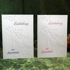 Einladungskarte zur Jugendweihe, geprägte Karte in Pink, Flieder oder Turkis