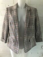 Womens Blazer Size 14 Check Pink Short Sleeve Casual Jacket Office