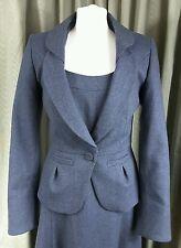 RARE Laura Ashley 1940s Style Blue Wool Dress Suit With Jacket UK10 EU38