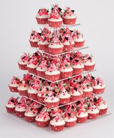 "YestBuy 5 Tier Square Acrylic Clear Cupcake Stand (16.9"")(4"" between 2 layers)"