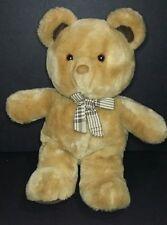 "Dakin Tan Teddy Bear Plaid Bow Korea Light Brown Ears Feet 1985 Plush 14"""