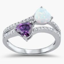 USA Seller Double Heart Ring Sterling Silver 925 Amethyst CZ & White Opal Size 5