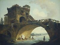 HUBERT ROBERT FRENCH THE PONTE SALARIO OLD ART PAINTING POSTER PRINT BB5718A