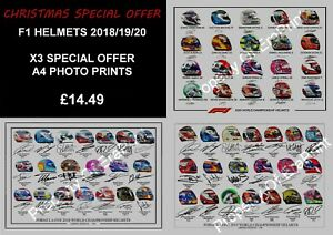F1 HELMETS 2018/19 AND 2020 SIGNED WORLD CHAMPIONSHIP A4 SIGNED PICTURE PRINT
