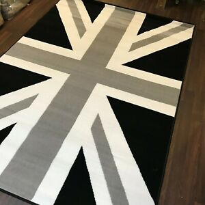 TOP QUALITY UNION JACK WOVEN RUGS 120CM X 170CM 6FTX4FT GREAT QUALITY GREY-BLACK
