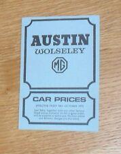 Austin Wolseley MG Price List 1972 - MGB GT Mini Clubman Wolseley Six 1300 1800