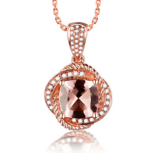 Cushion 9x9mm 2.4CT Morganite Diamonds 18K Rose Gold Classic Luxurious Pendant