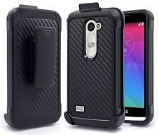 For LG Leon Power Destiny Carbon Fiber ShockProof Belt Holster Hard Clip Case