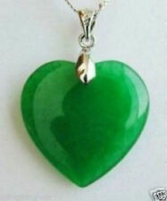 Jade Green Natural Hand-carved Heart Pendant  With 925 Sterling Silver Chain