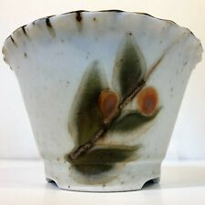 Studio Kiln Pottery Ceramic Footed Plant Planter Pot Drain Hole Berries Leaves