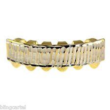 Diamond-Cut Bottom Lower Teeth 14k Gold Plated Small Mouth Hip Hop Bar Grills