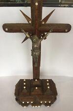 Antique Carved Wood Tramp Art Pyramid Crucifix Jesus Cross Folk Art