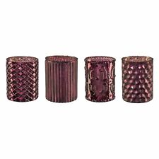 GLAS- TEELICHT mit DEKOR 10 cm. 4 STÜCK. Teelichtglas, lila AUBERGINE 6116500-77