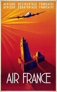 French West Africa 1940 Vintage Air Travel Poster Giclee Canvas Print 20x32