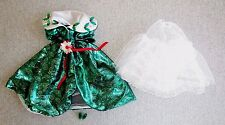 Barbie Clothes Happy Holidays  Green Gown Petticoat Shoes  Just Debox  Lot J3