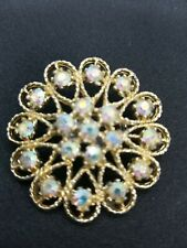 Borealis Beads Vintage Goldtone Brooch Pin With