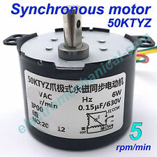 Synchronous Motor 50KTYZ AC 220V 240V 50/60Hz 5 rmp/m CW/CCW 6W Torque 12kgf.cm